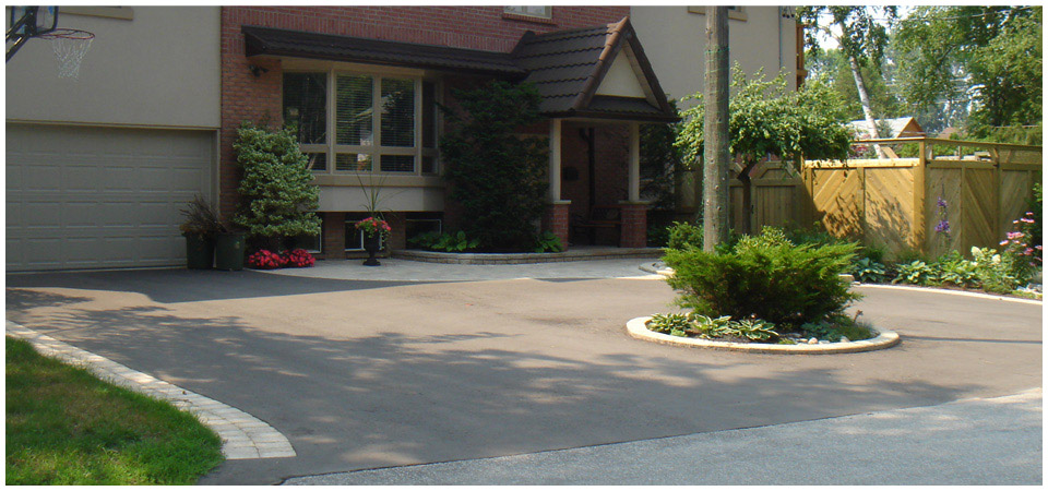 Residential driveway with landscaping